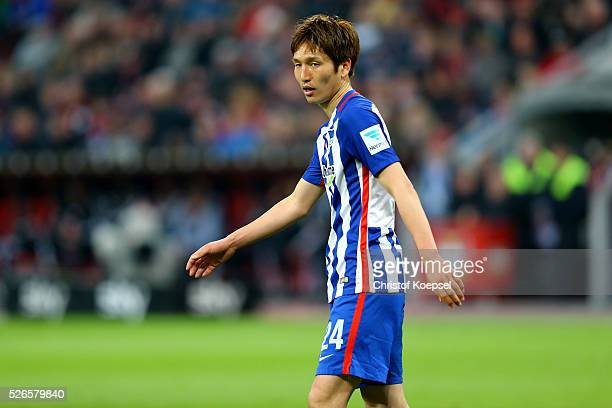 Genki Haraguchi of Berlin is seen during the Bundesliga match between Bayer Leverkusen and Hertha BSC Berlin at BayArena on April 30 2016 in...
