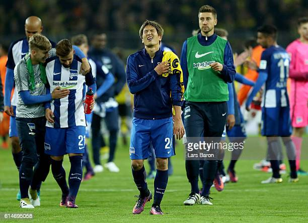 Genki Haraguchi of Berlin reacts after the Bundesliga match between Borussia Dortmund and Hertha BSC at Signal Iduna Park on October 14 2016 in...