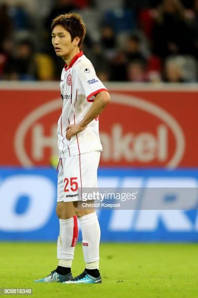 Genki Haraguchi of Duesseldorf is seen during the Second Bundesliga match between Fortuna Duesseldorf and FC Erzgebirge Aue at EspritArena on January...