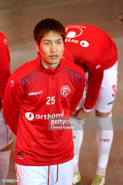 Genki Haraguchi of Duesseldorf is seen prior to the Second Bundesliga match between Fortuna Duesseldorf and SV Sandhausen at EspritArena on February...