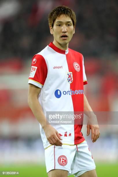 Genki Haraguchi of Duesseldorf reacts during the Second Bundesliga match between Fortuna Duesseldorf and SV Sandhausen at EspritArena on February 2...