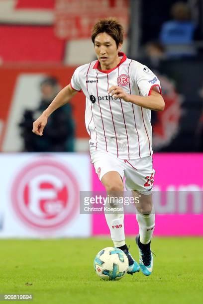 Genki Haraguchi of Duesseldorf runs with the ball during the Second Bundesliga match between Fortuna Duesseldorf and FC Erzgebirge Aue at EspritArena...