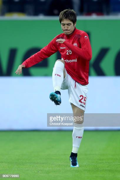Genki Haraguchi of Duesseldorf warms up prior to the Second Bundesliga match between Fortuna Duesseldorf and FC Erzgebirge Aue at EspritArena on...
