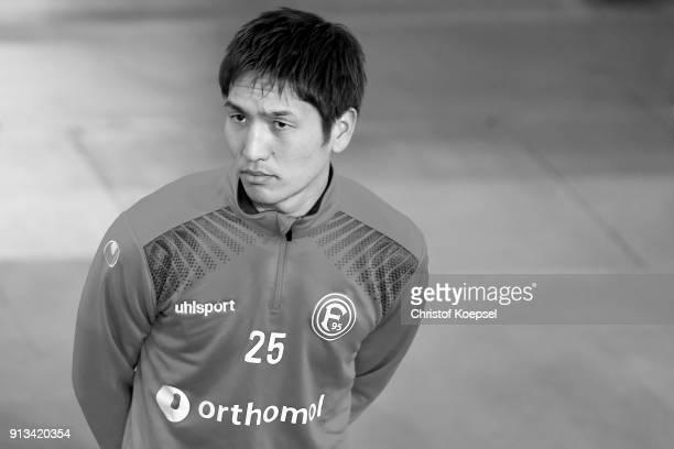 Genki Haraguchi of Duesseldorf warms up prior to the Second Bundesliga match between Fortuna Duesseldorf and SV Sandhausen at EspritArena on February...