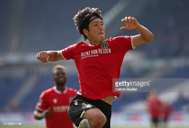 Genki Haraguchi of Hannover 96 celebrates after scoring during the Second Bundesliga match between Hannover 96 and Eintracht Braunschweig at...