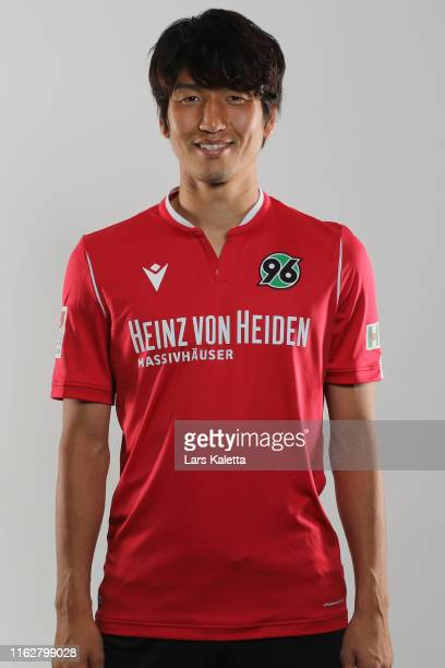 Genki Haraguchi of Hannover 96 poses during the team presentation at HDI-Arena on July 18, 2019 in Hanover, Germany.