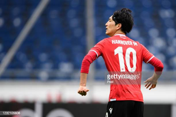 Genki Haraguchi of Hannover reacts after scoring his team's first goal during the Second Bundesliga match between Hannover 96 and Hamburger SV at...