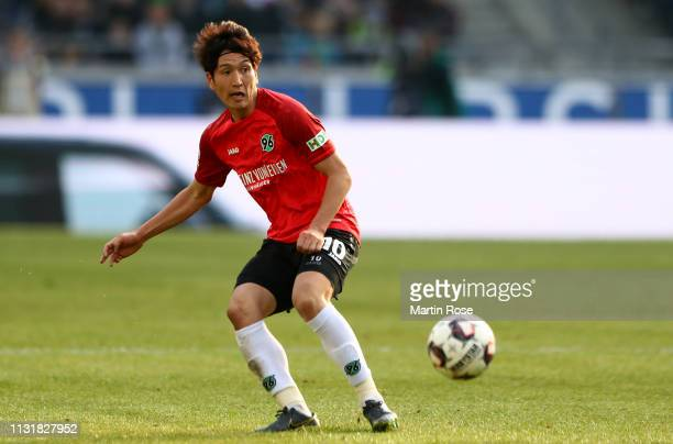 Genki Haraguchi of Hannover runs with the ball during the Bundesliga match between Hannover 96 and Eintracht Frankfurt at HDI-Arena on February 24,...
