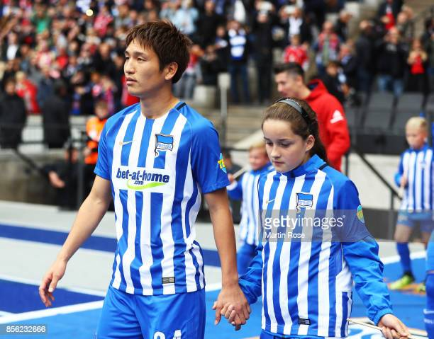 Genki Haraguchi of Hertha Berlin walks out before the Bundesliga match between Hertha BSC and FC Bayern Muenchen at Olympiastadion on October 1 2017...