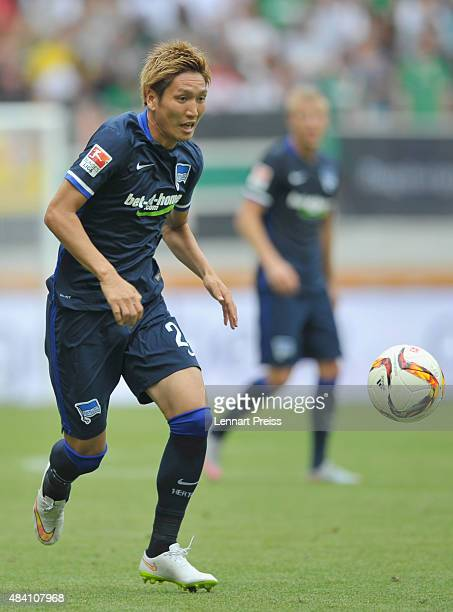 Genki Haraguchi of Hertha BSC in action during the Bundesliga match between FC Augsburg and Hertha BSC at WWKArena on August 15 2015 in Augsburg...