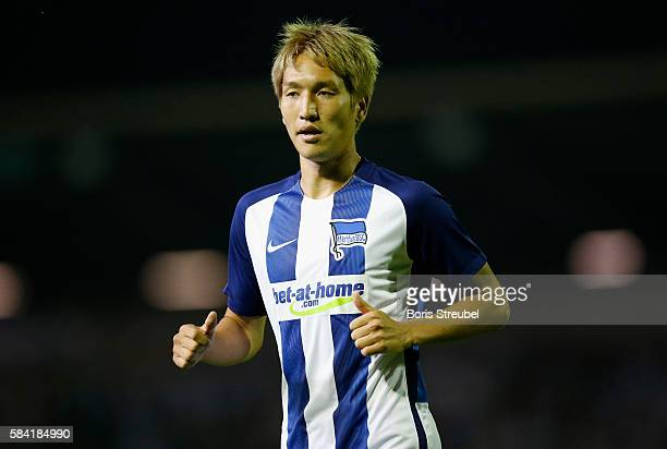 Genki Haraguchi of Hertha BSC looks on during the UEFA Europa League third qualifying round first leg match between Hertha BSC Berlin and Brondby IF...