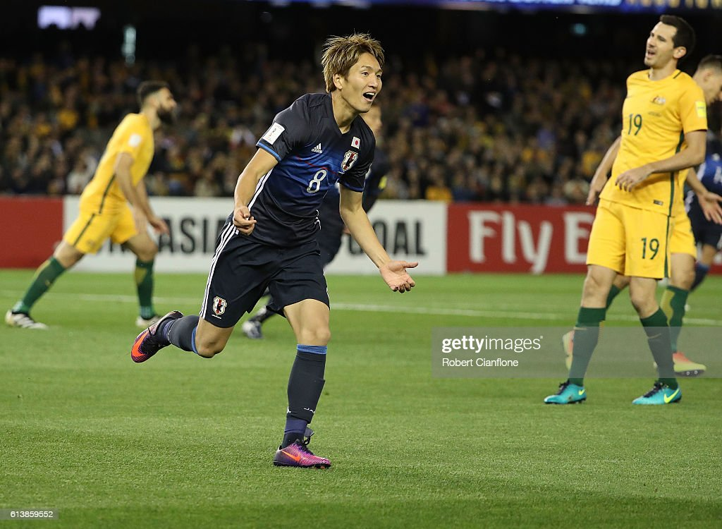 Genki Haraguchi of Japan celebrates after scoring a goal during the 2018 FIFA World Cup Qualifier match between the Australian Socceroos and Japan at Etihad Stadium on October 11, 2016 in Melbourne, Australia.