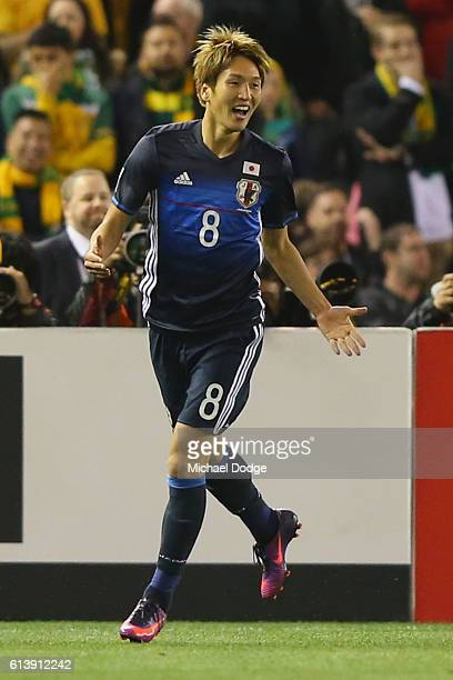 Genki Haraguchi of Japan celebrates his goal during the 2018 FIFA World Cup Qualifier match between the Australian Socceroos and Japan at Etihad...
