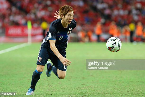 Genki Haraguchi of Japan in action during the 2018 FIFA World Cup Qualifier match between Singapore and Japan at National Stadium on November 12 2015...