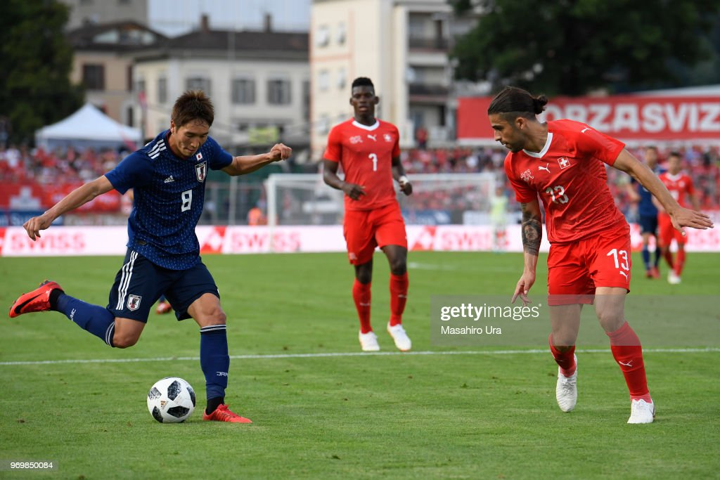 Genki Haraguchi of Japan in action during the international friendly match between Switzerland and Japan at the Stadium Cornaredo on June 8, 2018 in Lugano, Switzerland.