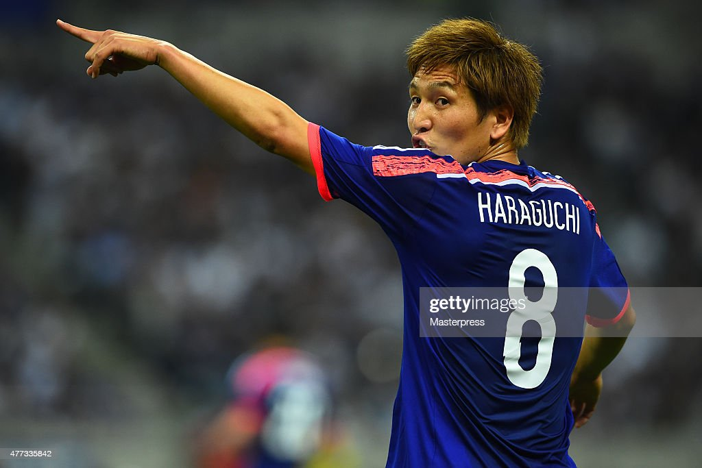 Genki Haraguchi of Japan looks on during the 2018 FIFA World Cup Asian Qualifier second round match between Japan and Singapore at Saitama Stadium on June 16, 2015 in Saitama, Japan.