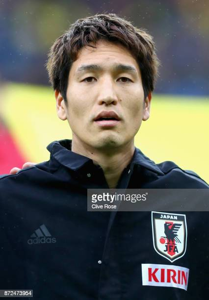 Genki Haraguchi of Japan looks on prior to the international friendly match between Brazil and Japan at Stade PierreMauroy on November 10 2017 in...