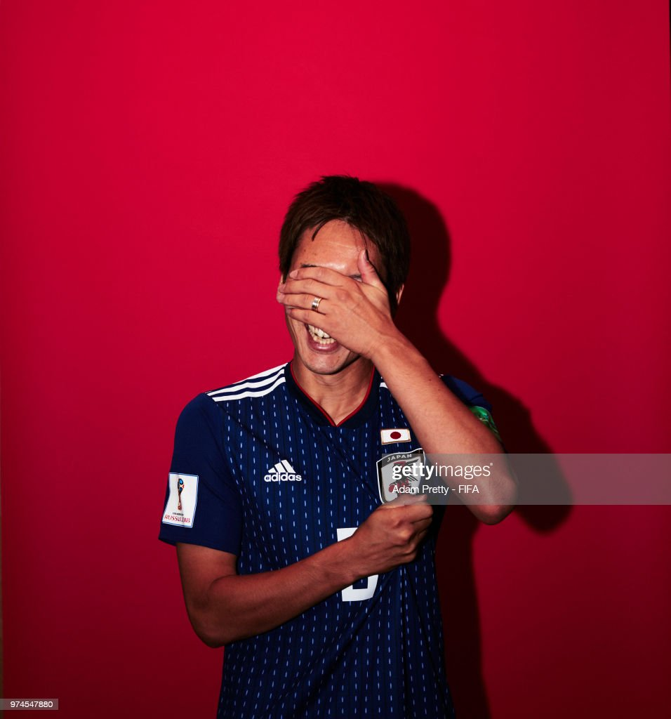 Genki Haraguchi of Japan poses for a portrait during the official FIFA World Cup 2018 portrait session at the FC Rubin Training Grounds on June 14, 2018 in Kazan, Russia.