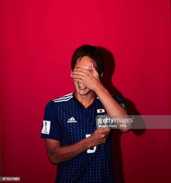 Genki Haraguchi of Japan poses for a portrait during the official FIFA World Cup 2018 portrait session at the FC Rubin Training Grounds on June 14...