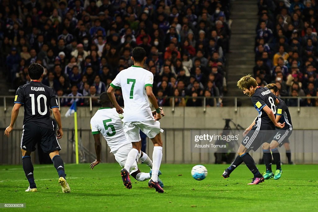 Genki Haraguchi (2nd R) of Japan scores his team's second goal during the 2018 FIFA World Cup Qualifier match between Japan and Saudi Arabia at Saitama Stadium on November 15, 2016 in Saitama, Japan.