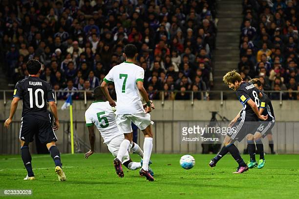 Genki Haraguchi of Japan scores his team's second goal during the 2018 FIFA World Cup Qualifier match between Japan and Saudi Arabia at Saitama...