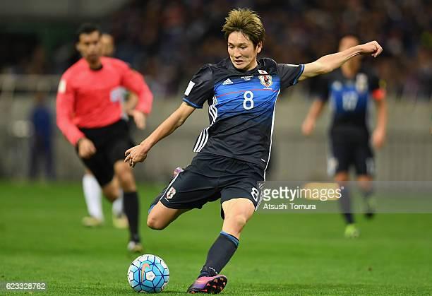 Genki Haraguchi of Japan shoots at goal during the 2018 FIFA World Cup Qualifier match between Japan and Saudi Arabia at Saitama Stadium on November...