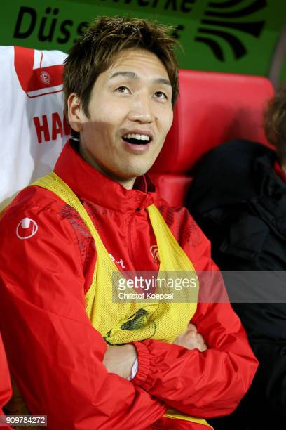 Genki Haraguchi sits on the bench during the Second Bundesliga match between Fortuna Duesseldorf and FC Erzgebirge Aue at EspritArena on January 24...
