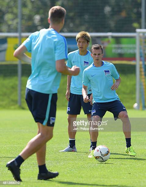 Genki Haraguchi Vladimir Darida of Hertha BSC during the training camp in Schladming on July 20 2015 in Schladming Austria