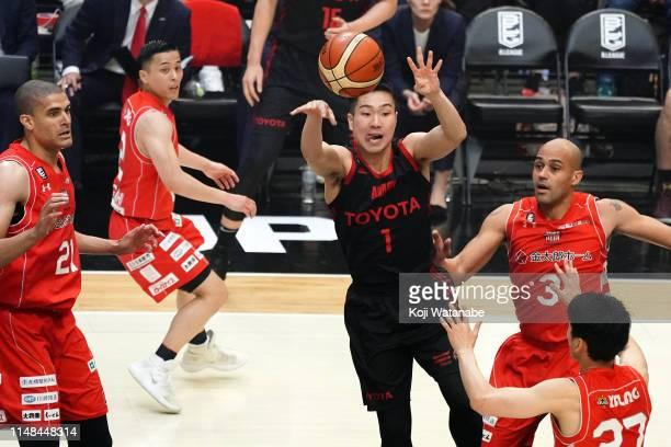 Genki Kojima of Alvark Tokyo ina action during the B.League final between Chiba Jets and Alvark Tokyo at Yokohama Arena on May 11, 2019 in Yokohama,...