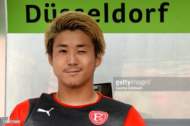 Genki Omae of Duessdorf looks on prior to the Second Bundesliga match between Fortuna Duesseldorf and 1860 Muenchen at Esprit Arena on August 9 2013...