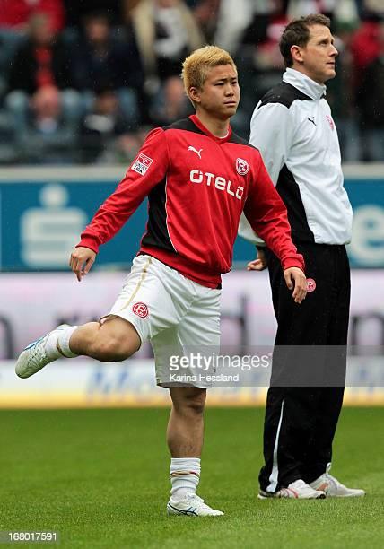 Genki Omae of Duesseldorf during the Bundesliga match between Eintracht Frankfurt and Fortuna Duesseldorf 1895 at CommerzbankArena on May 4 2013 in...
