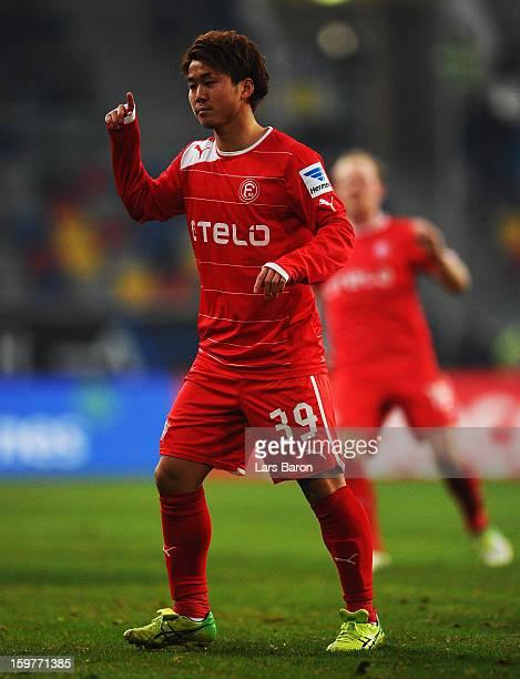 Genki Omae of Duesseldorf gestures during the Bundesliga match between Fortuna Duesseldorf 1895 and FC Augsburg at EspritArena on January 20 2013 in...