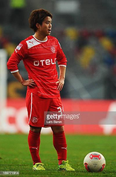 Genki Omae of Duesseldorf is seen during the Bundesliga match between Fortuna Duesseldorf 1895 and FC Augsburg at EspritArena on January 20 2013 in...