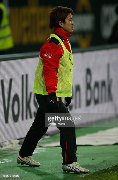 Genki Omae of Duesseldorf is seen warming up during the Bundesliga match between VfL Wolfsburg and Fortuna Duesseldorf 1895 at Volkswagen Arena on...