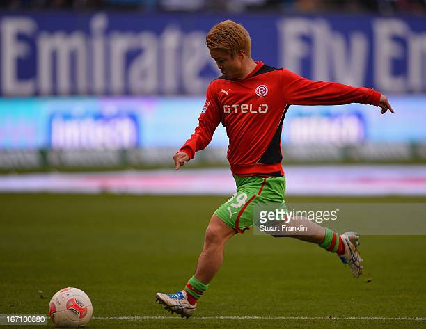 Genki Omae of Duesseldorf warms up during the Bundesliga match between Hamburger SV and Fortuna Duesseldorf 1895 at Imtech Arena on April 20 2013 in...