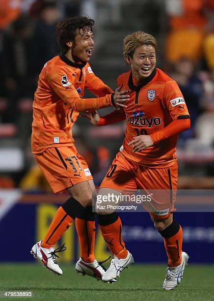 Genki Omae of Shimizu SPulse celebrates scoring his team's second goal with his teammate Yosuke Kawai during the JLeague Yamazaki Nabisco Cup match...