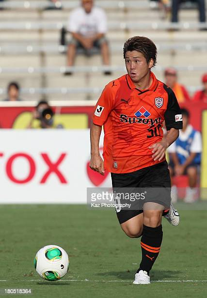 Genki Omae of Shimizu SPulse in action during the JLeague match between Shimizu SPulse and Nagoya Grampus at IAI Stadium Nihondaira on September 14...