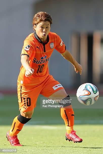 Genki Omae of Shimizu SPulse in action during the JLeague match between Shimizu SPulse and Urawa Red Diamonds at Ecopa Stadium on September 13 2014...