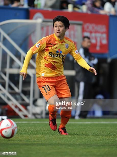 Genki Omae of Shimizu SPulse in action during the JLeague Yamazaki Nabisco Cup match between Yokohama FMarinos and Shimizu SPulse at Nippatsu...