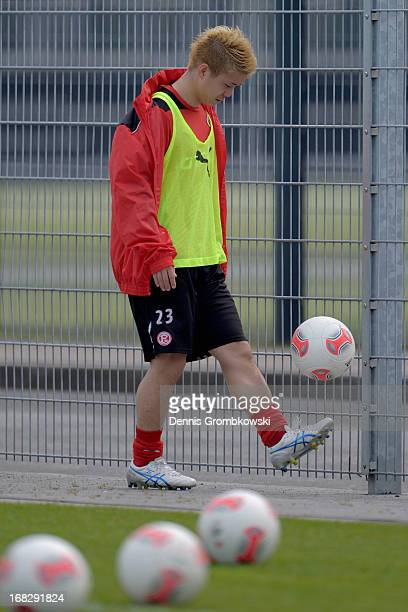 Genki Omae reacts during a Fortuna Duesseldorf training session at Arena Sport Park on May 8 2013 in Duesseldorf Germany
