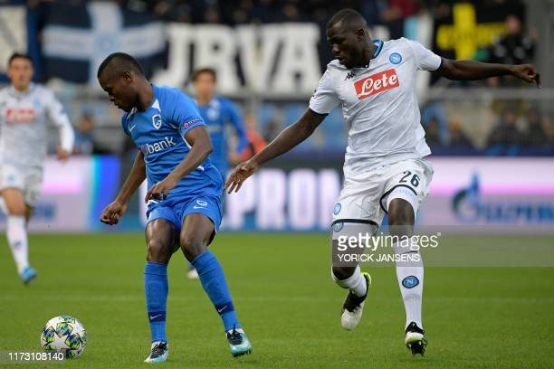 Genk's Aly Mbwana Samatta and Napoli's Kalidou Koulibaly fight for the ball during the match between Belgian soccer team RC Genk and Italian club SSC...