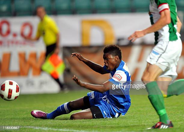 Genk's Anthony Limbombe reacts as he falls during his friendly football match FC Flora vs Genk in Tallinn on July 6 2011 Genk won 30 AFP PHOTO/...