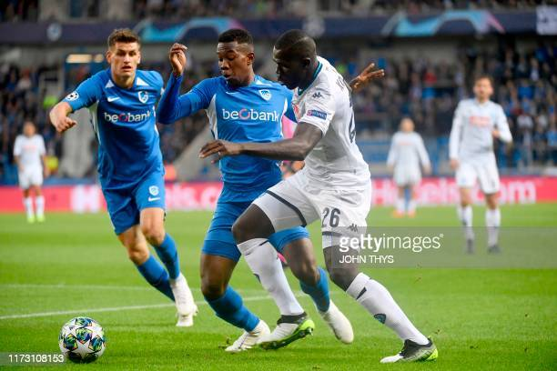 Genk's Carlos Cuesta vies with Napoli's Kalidou Koulibaly during the UEFA Champions League Group E football match between Napoli and RC Genk on...