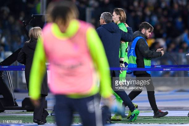 Genk's goalkeeper coach Guy Martens and Genk's goalkeeper Maarten Vandevoordt pictured during the game between Belgian soccer team KRC Genk and...