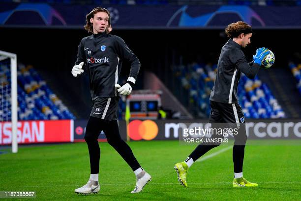 Genk's goalkeeper Maarten Vandevoordt and Genk's goalkeeper Gaetan Coucke pictured during a training session of Belgian soccer team KRC Genk in...