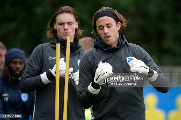 Genk's goalkeeper Maarten Vandevoordt and Genk's goalkeeper Gaetan Coucke pictured in action during a training session of Belgian soccer team RC Genk...