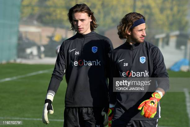 Genk's goalkeeper Maarten Vandevoordt and Genk's goalkeeper Gaetan Coucke pictured during the winter training camp of Belgian first division soccer...