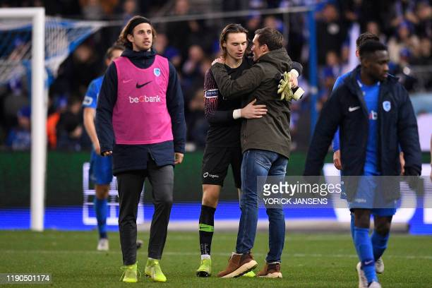 Genk's goalkeeper Maarten Vandevoordt and Genk's head coach Hannes Wolf pictured after a soccer match between KRC Genk and KAS Eupen Thursday 26...