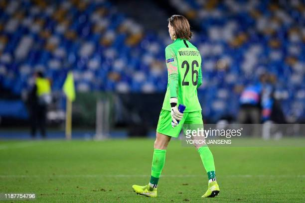 Genk's goalkeeper Maarten Vandevoordt pictured during the game between Belgian soccer team KRC Genk and Italian club SSC Napoli in Naples Italy...