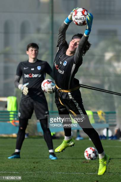Genk's goalkeeper Maarten Vandevoordt pictured in action during the winter training camp of Belgian first division soccer team KRC Genk in Benidorm...